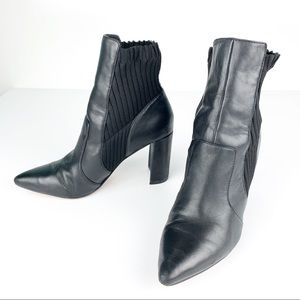 Sole Society | Black Leather Ankle Boots Salmay